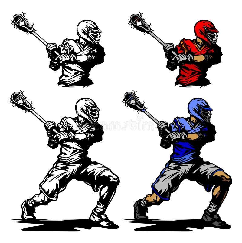 Jugador del lacrosse que acuna la ilustración de la bola stock de ilustración