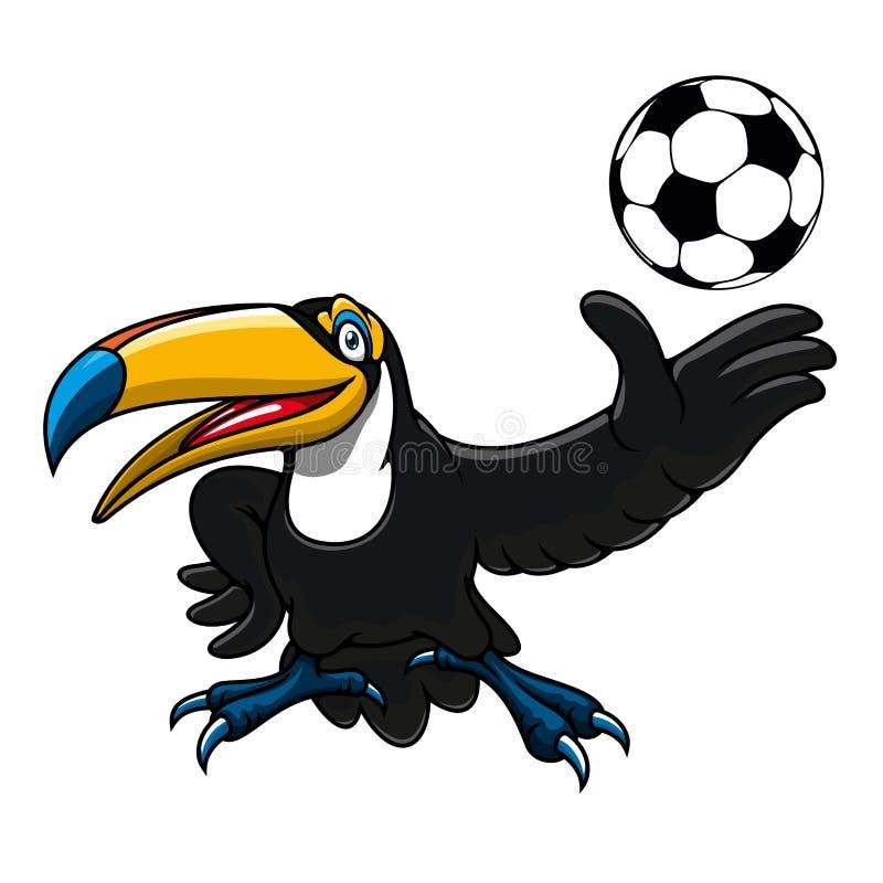 Jugador del pájaro del tucán de la historieta con la bola ilustración del vector