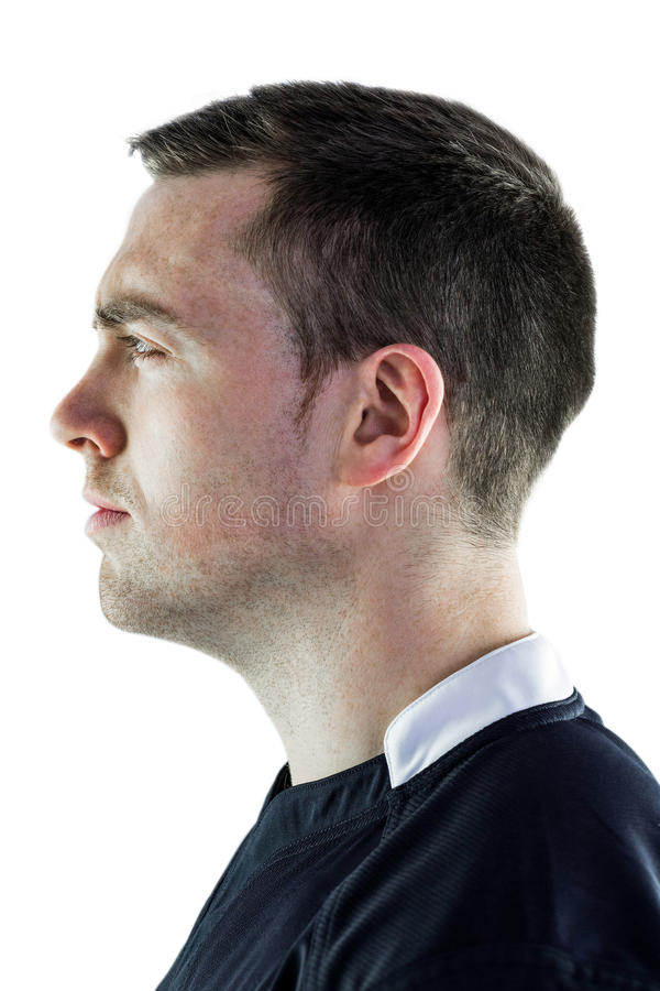 Jugador del rugbi en una opinión del perfil imagenes de archivo