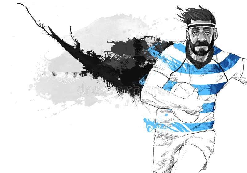 Jugador del rugbi que corre con la bola ilustración del vector