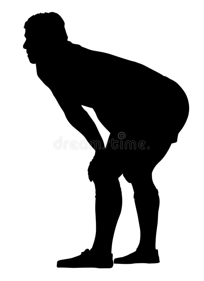 Jugador del rugbi que descansa con las manos en rodillas libre illustration