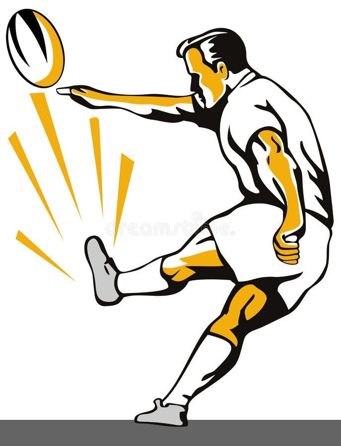 Jugador del rugbi que golpea la bola con el pie ilustración del vector