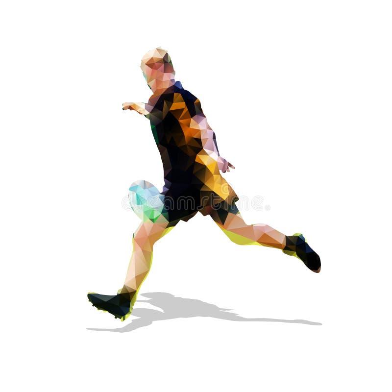Jugador del rugbi que golpea la bola con el pie libre illustration