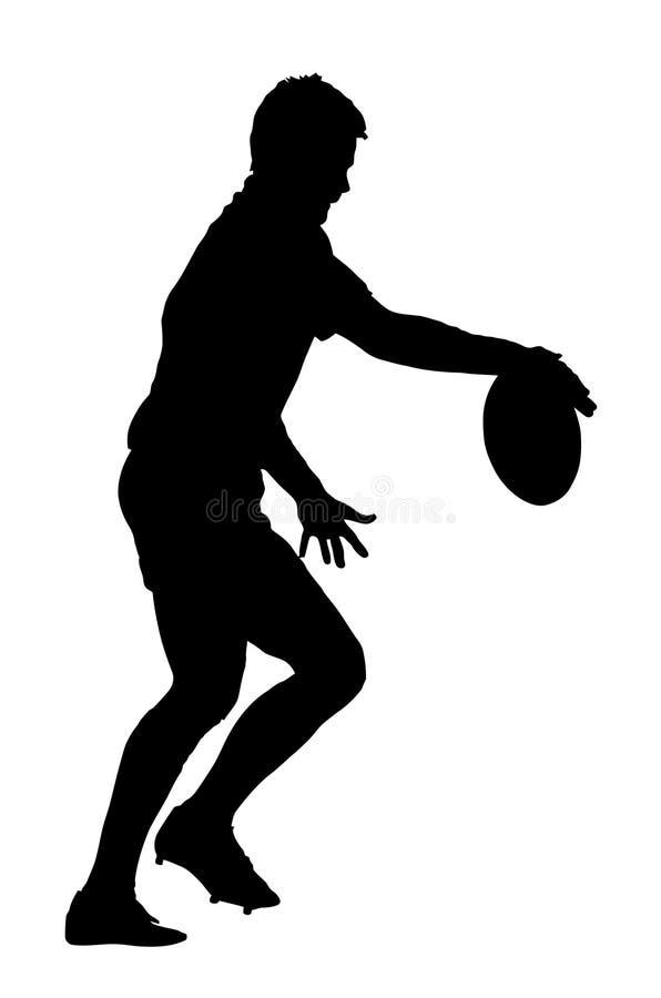 Jugador del rugbi que lanza la bola al retroceso stock de ilustración