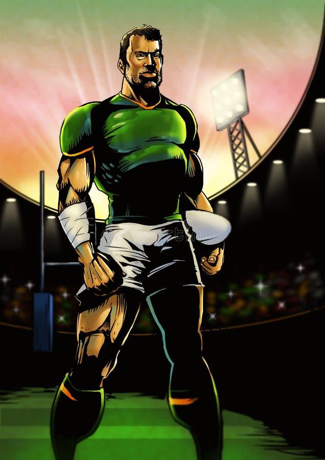Jugador del rugbi que se alinea para el juego libre illustration