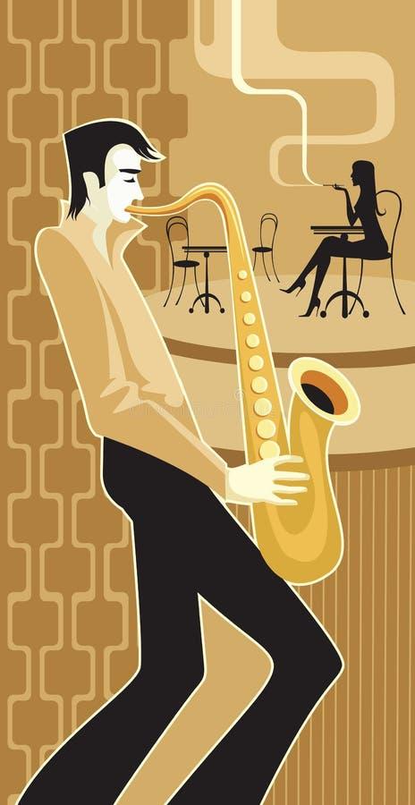 Jugador del saxofón stock de ilustración