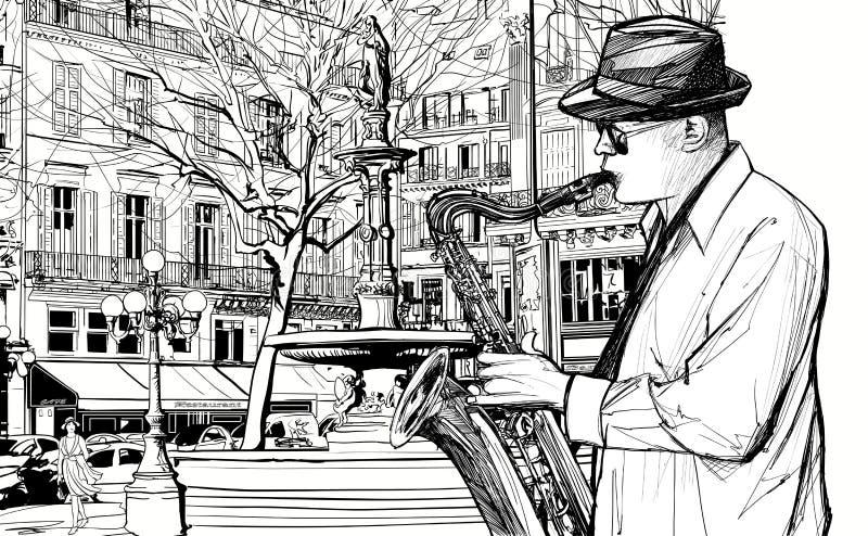 Jugador del saxofón en una calle de París libre illustration