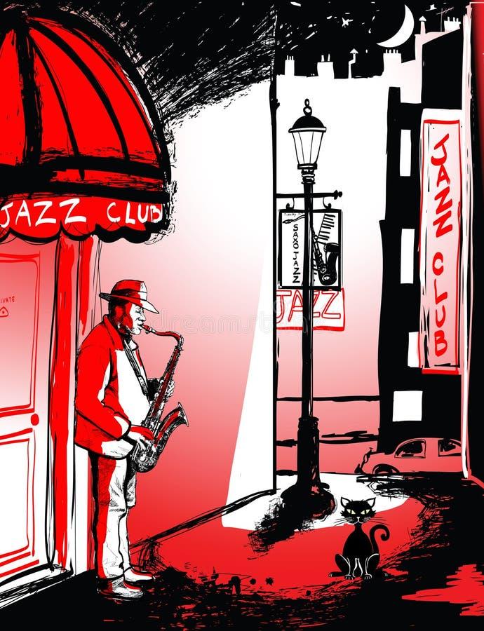 Jugador del saxofón en una calle en la noche ilustración del vector