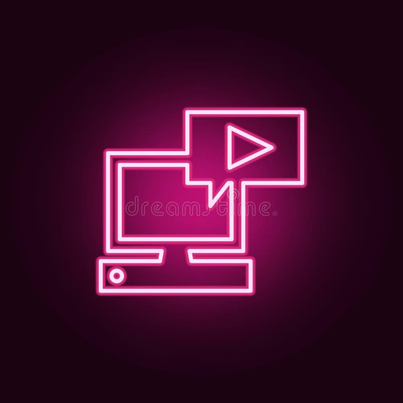 jugador en el icono del ordenador Elementos de la web en los iconos de ne?n del estilo Icono simple para las p?ginas web, dise?o  ilustración del vector