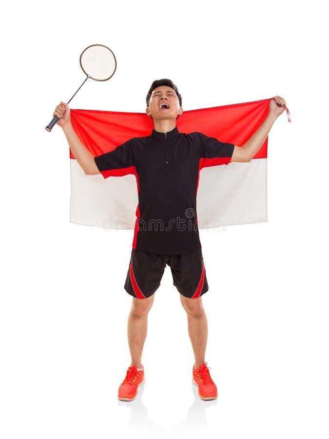 Jugador indonesio del bádminton victorioso imágenes de archivo libres de regalías