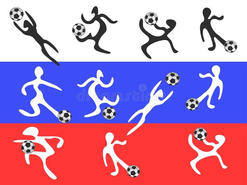 Jugadores abstractos que juegan a fútbol en la bandera de Rusia stock de ilustración