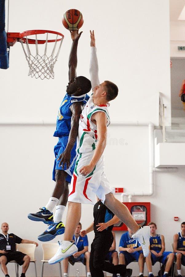 Jugadores de básquet en la acción imagen de archivo