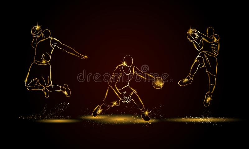 Jugadores de básquet fijados Ejemplo de oro del jugador de básquet stock de ilustración