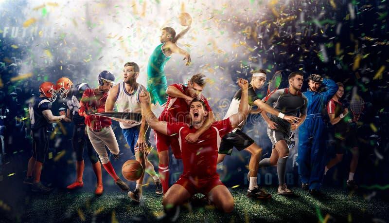 Jugadores de diversos deportes en la representación del estadio de fútbol 3D fotos de archivo