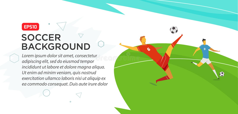 Jugadores de fútbol campeonato Engañe el ejemplo del vector del color en estilo plano aislado en el fondo blanco Bandera del cart ilustración del vector