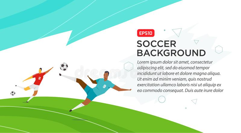 Jugadores de fútbol campeonato Engañe el ejemplo del vector del color en estilo plano aislado en el fondo blanco Bandera del cart libre illustration