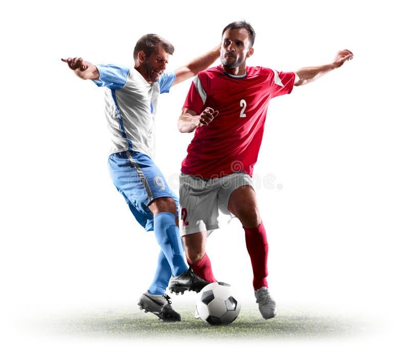 Jugadores de fútbol caucásicos aislados en el fondo blanco imagen de archivo libre de regalías