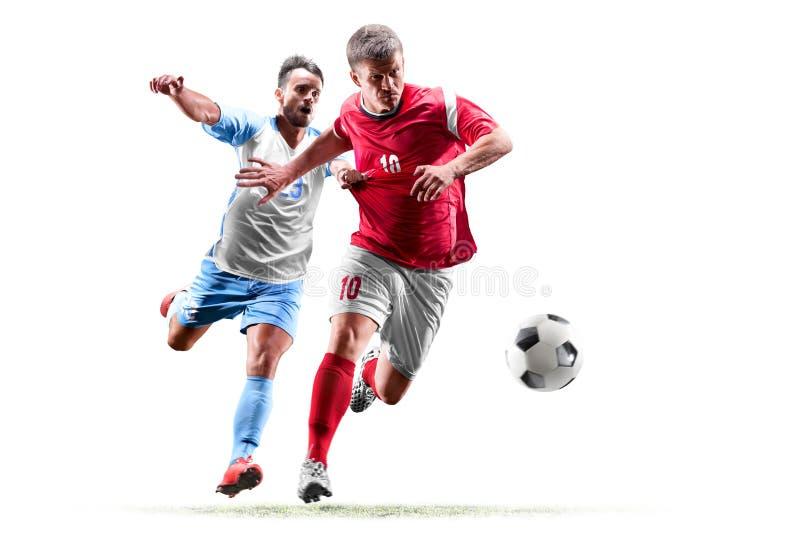 Jugadores de fútbol caucásicos aislados en el fondo blanco fotos de archivo libres de regalías
