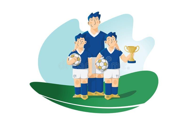 Jugadores de fútbol con la taza de la bola y de los ganadores ilustración del vector