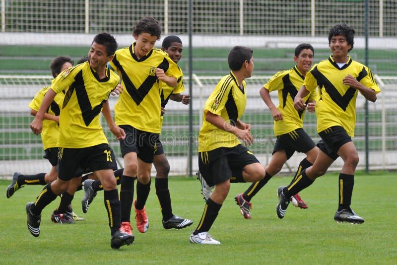 Jugadores de fútbol de los peruvian del ganador fotos de archivo