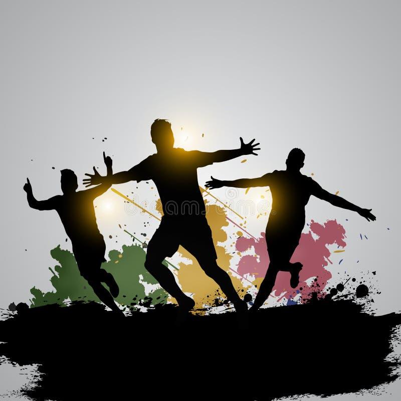 Jugadores de fútbol del Grunge que celebran 03 ilustración del vector