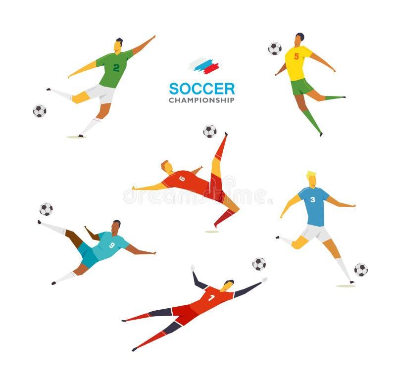 Jugadores de fútbol fijados stock de ilustración