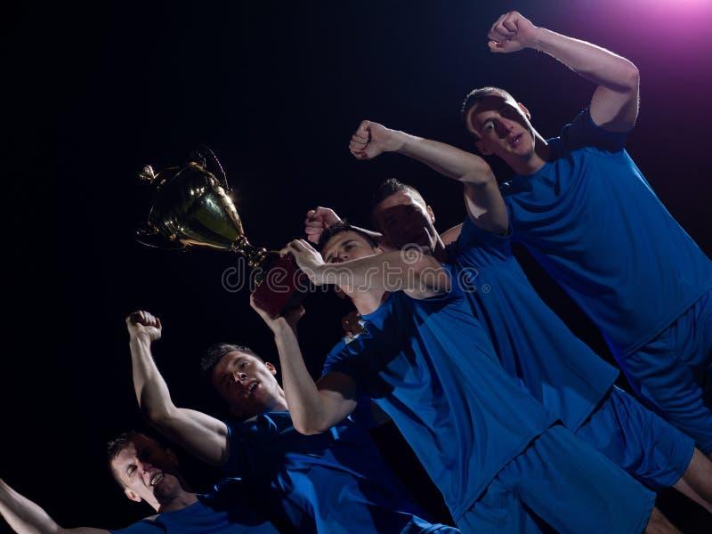 Jugadores de fútbol que celebran la victoria foto de archivo libre de regalías