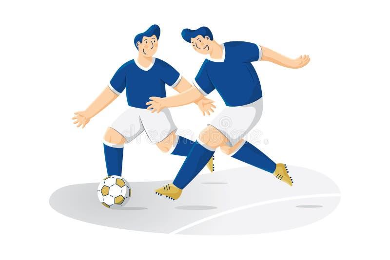 Jugadores de fútbol que gotean con la bola ilustración del vector