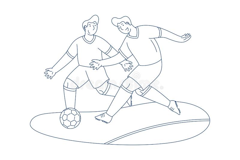 Jugadores de fútbol que gotean la línea arte de la bola stock de ilustración