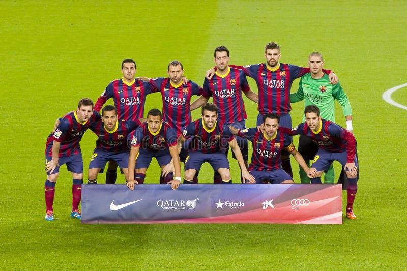 Jugadores de FC Barcelona fotografía de archivo
