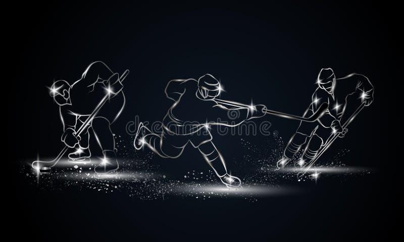 Jugadores de hockey fijados Ejemplo linear metálico del jugador de hockey para la bandera del deporte, fondo ilustración del vector
