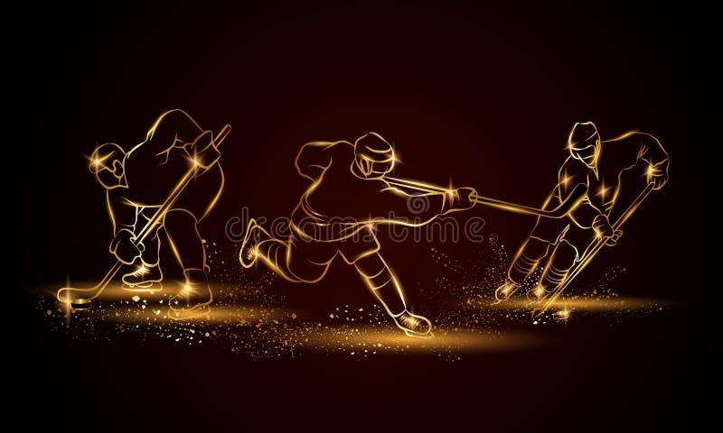 Jugadores de hockey fijados Ejemplo linear de oro del jugador de hockey para la bandera del deporte, fondo libre illustration