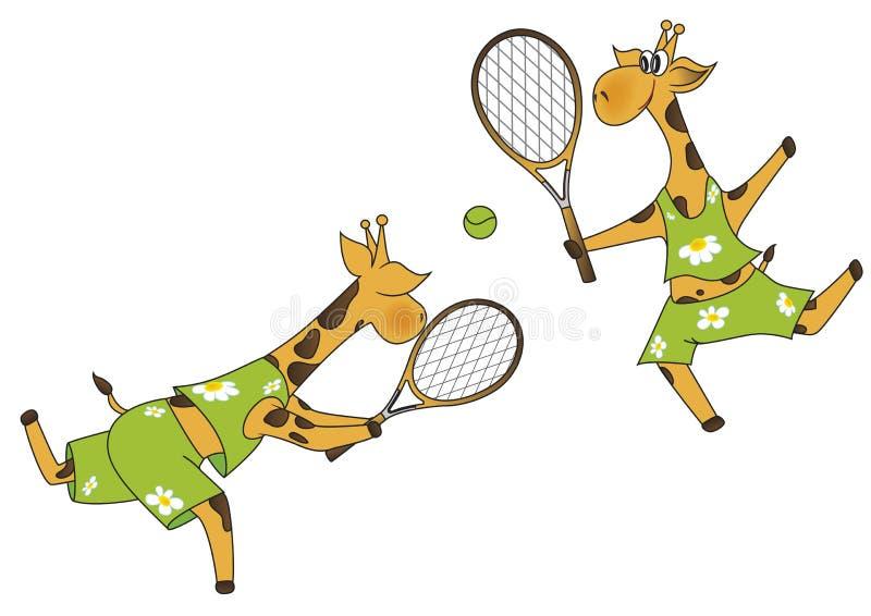 Jugadores de tenis de las jirafas libre illustration