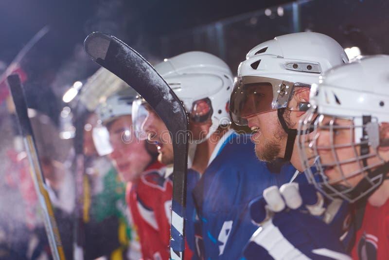 Jugadores del hockey sobre hielo en banco foto de archivo libre de regalías