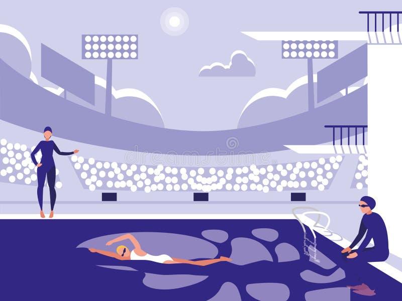 Jugadores en la piscina para la competencia de salto libre illustration