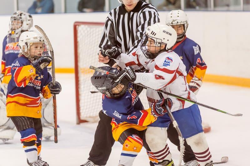 Jugadores que luchan del hockey de los niños fotografía de archivo libre de regalías
