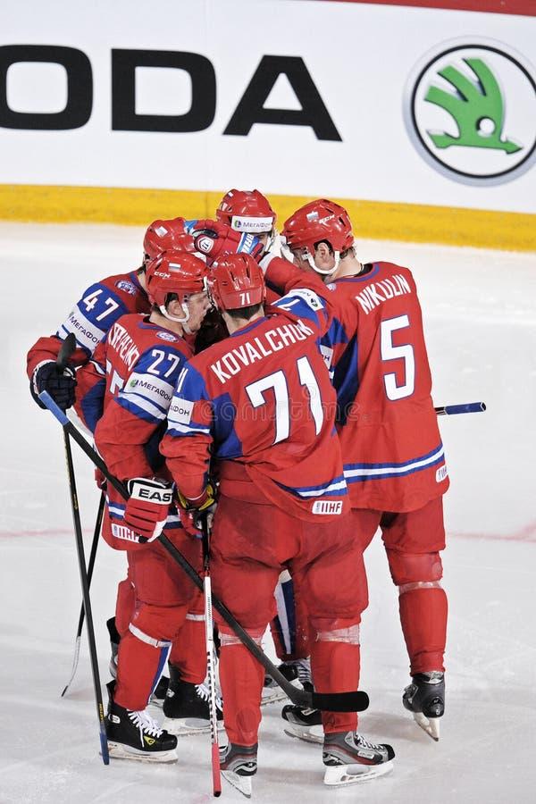 Jugadores rusos del hockey sobre hielo foto de archivo libre de regalías