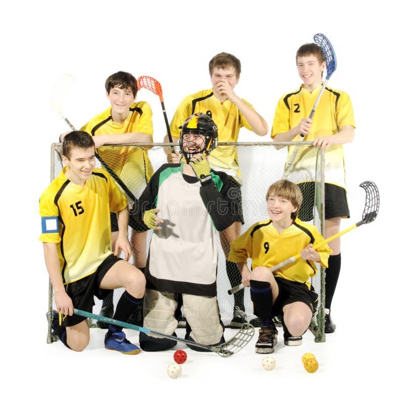 Jugadores y portero de Floorball foto de archivo libre de regalías