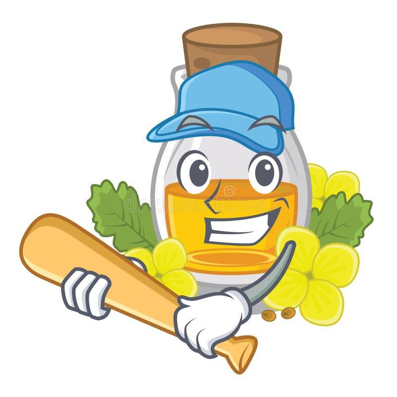 Jugando el aceite de mostaza del béisbol embalado en botella del cartón libre illustration
