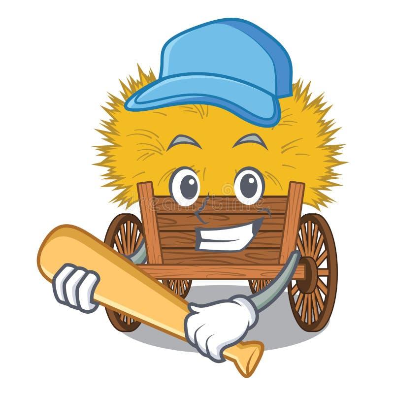 Jugando el hayride del béisbol aislado dentro en el carácter stock de ilustración
