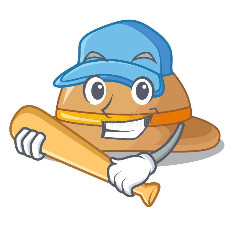 Jugando el sombrero del corcho del béisbol aislado en la mascota libre illustration