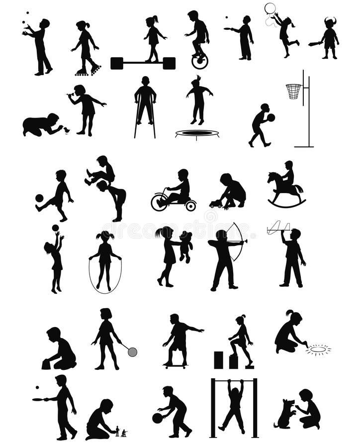 Jugando las siluetas de los niños fijadas stock de ilustración