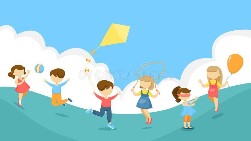 Jugando a los niños fijados stock de ilustración