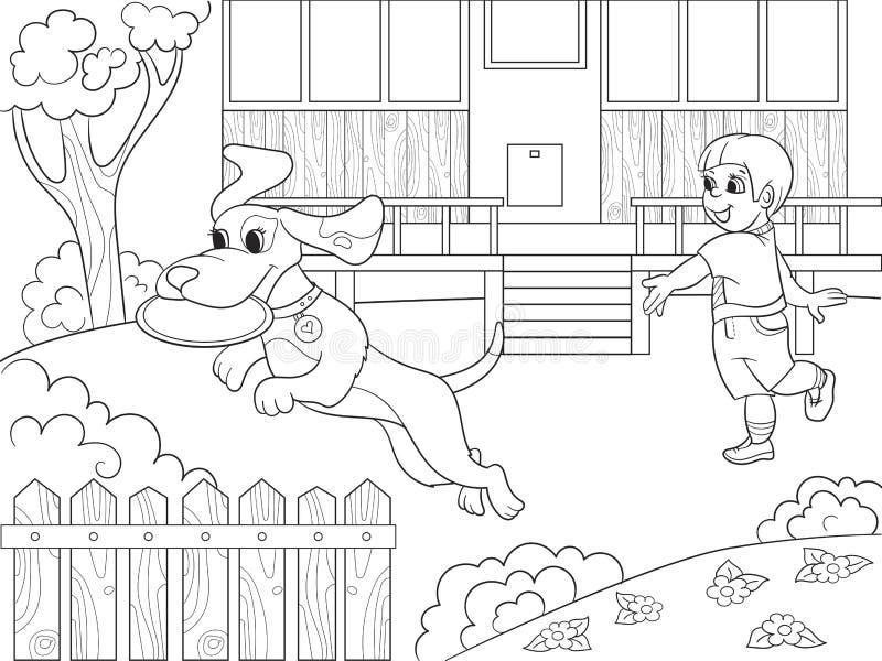 Jugando A Un Muchacho En Naturaleza Con Un Perro En El Libro De ...