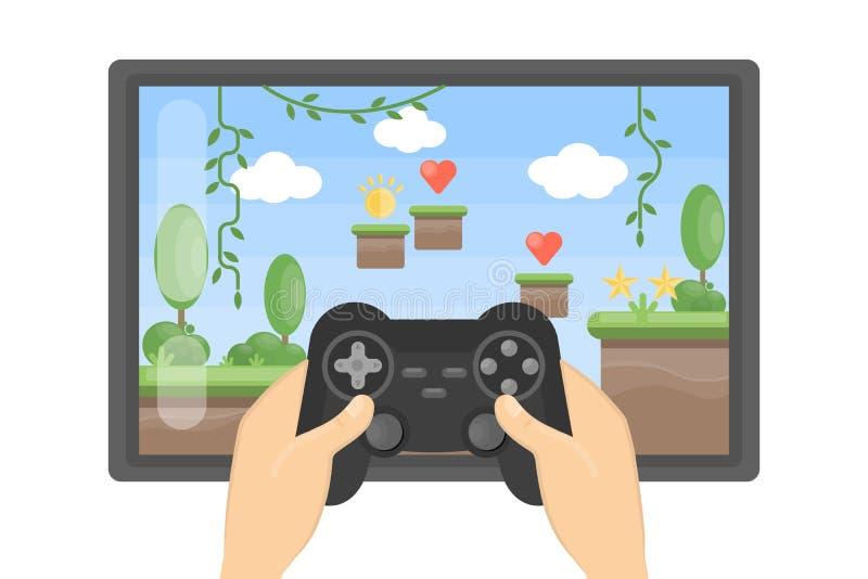 Jugar al juego video ilustración del vector