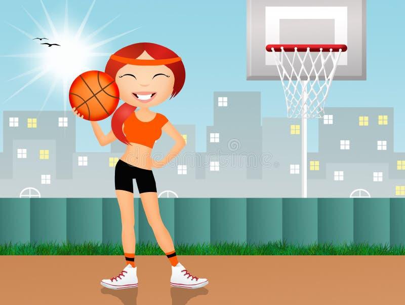 Jugar a baloncesto ilustración del vector