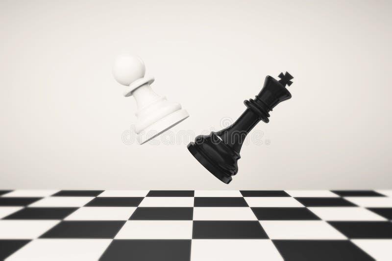 Jugar concepto del ajedrez Empeño con la lucha de la reina ilustración del vector