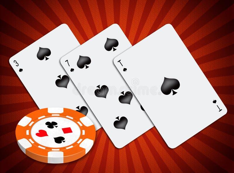 Jugar correspondencias y la viruta para un póker stock de ilustración