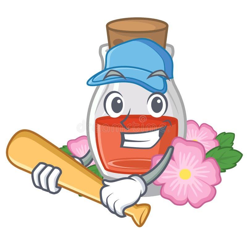 Jugar el aceite de semilla del escaramujo del béisbol en botella de la historieta ilustración del vector