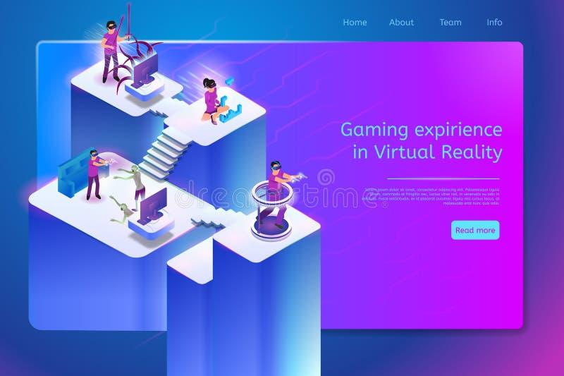 Jugar la bandera en línea del vector de los juegos de la realidad virtual libre illustration
